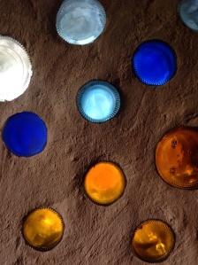 Earthship bottle windows