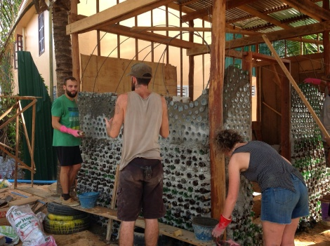 Building with recycled glass bottles